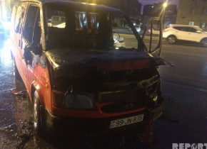 Ali Məhkəmənin qarşısında mikroavtobus yandı