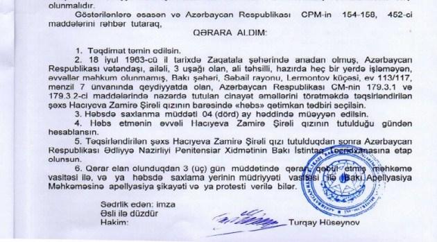 Cahangir Hacıyevin həyat yoldaşının həbs xəbəri yayıldı
