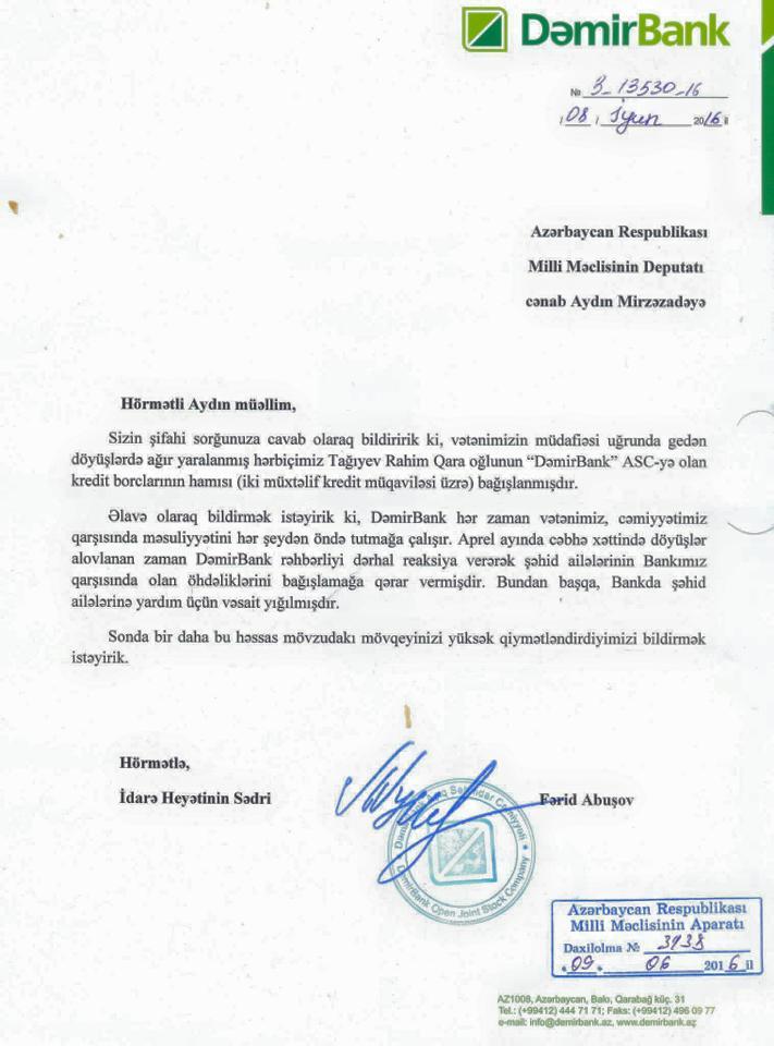 """""""Dəmirbank"""" yaralı hərbçinin kredit borcunu sildi"""