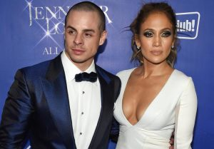 """LAS VEGAS, NV - JANUARY 21:  Dancer Casper Smart (L) and singer/actress Jennifer Lopez attend the after party for her residency """"JENNIFER LOPEZ: ALL I HAVE"""" and the grand opening of Mr. Chow at Caesars Palace on January 21, 2016 in Las Vegas, Nevada.  (Photo by Ethan Miller/Getty Images)"""