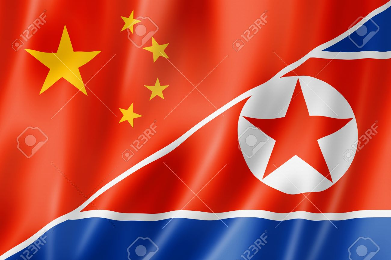 19187913-Mixed-China-and-north-korea-flag-three-dimensional-render-illustration-Stock-Illustration
