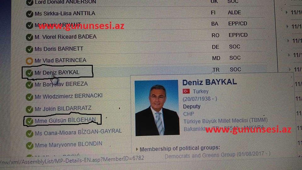 Dəniz Baykal da Azərbaycanla bağlı qətnaməyə səs verib