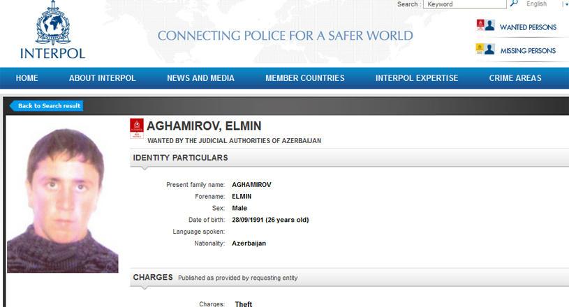 İnterpol 26 yaşlı bu azərbaycanlını axtarır