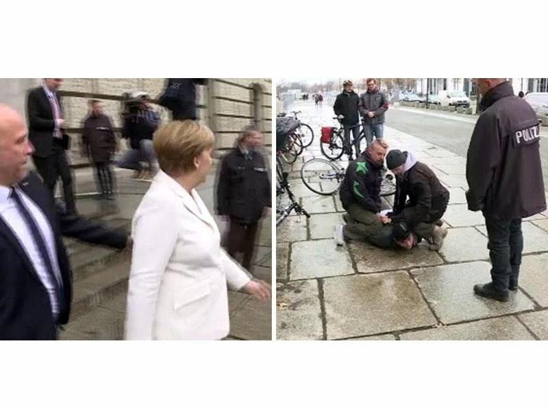 Merkelə hücum edildi