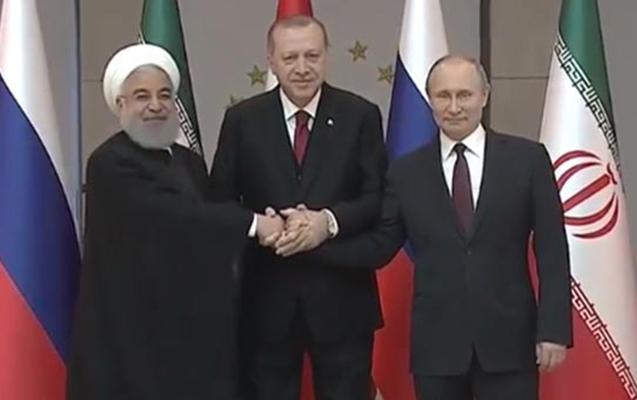 Ərdoğan, Putin və Ruhani arasında üçtərəfli görüş başladı