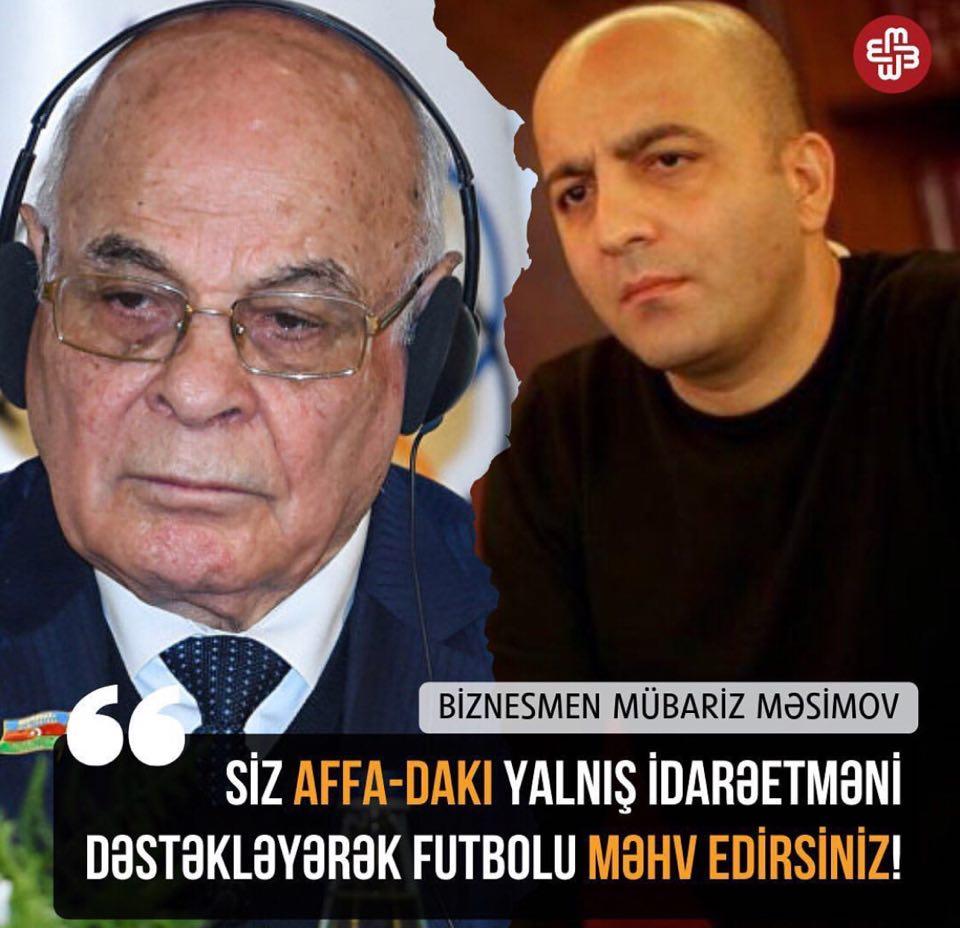 """""""AFFA-dakı yanlış idarəetməni dəstəkləyərək futbolu məhv edirsiniz"""""""