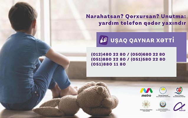"""""""Azercell""""in dəstəklədiyi """"Uşaq Qaynar Xətti""""nə daxil olan müraciətlərin sayı"""