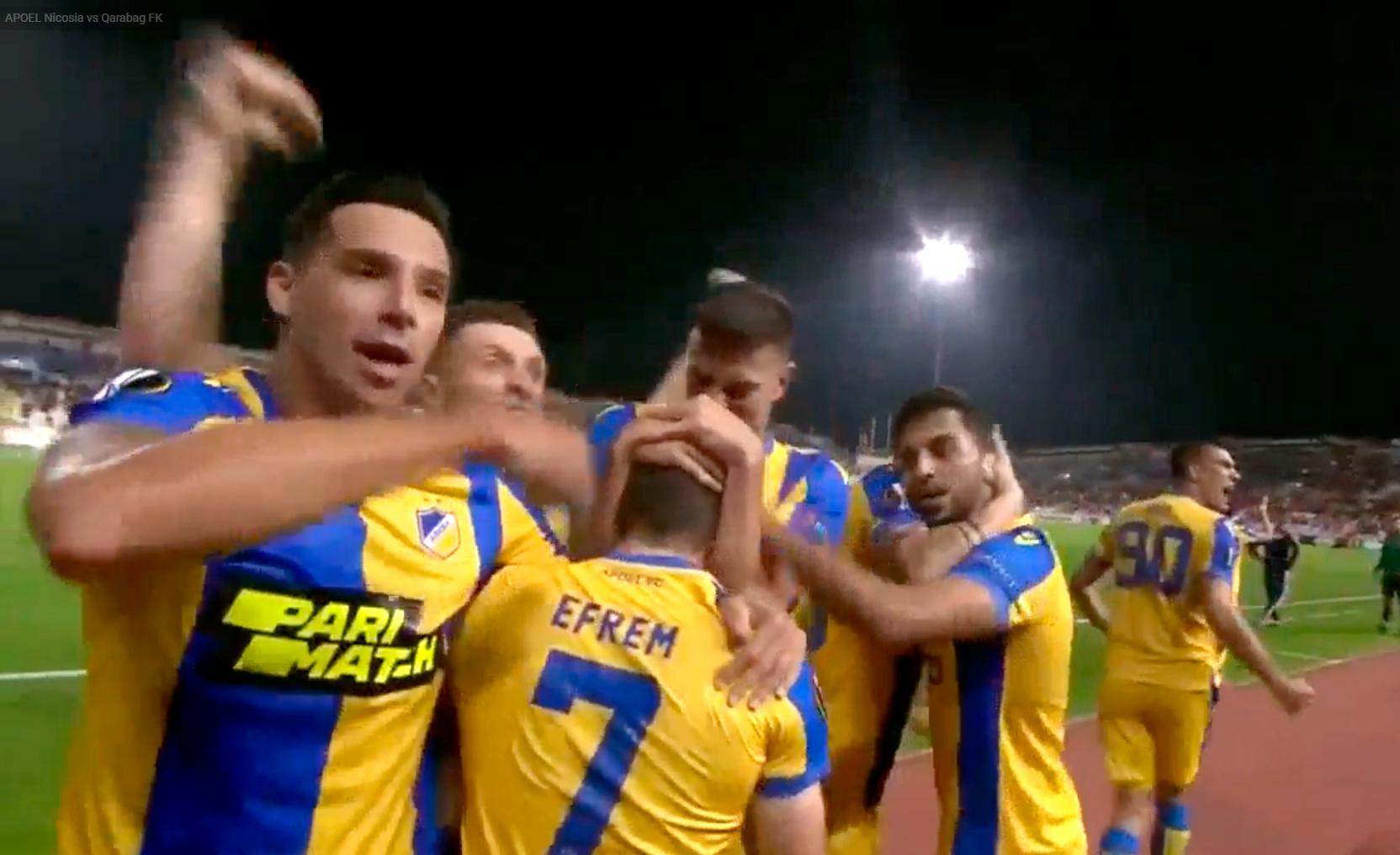 APOEL-in futbolçularından qol sevinci zamanı qeyri-etik hərəkət – VİDEO