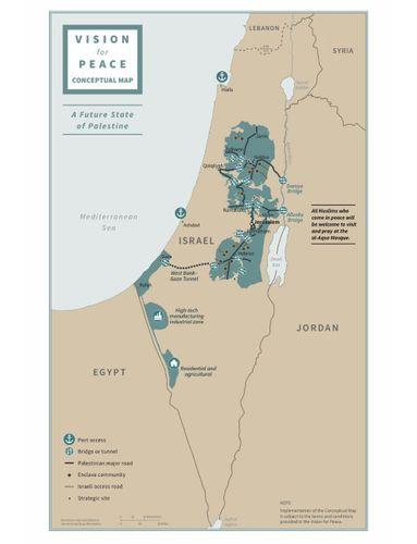 Tramp gələcək Fələstin dövlətinin xəritəsini paylaşıb